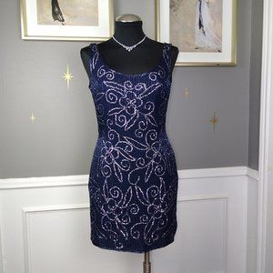 VTG Scala Silk Beaded Sequins Cocktail Dress